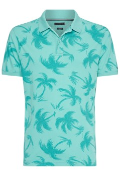 Tommy Hilfiger polo turquoise palmprint