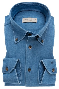 John Miller overhemd Slim Fit blauw denim