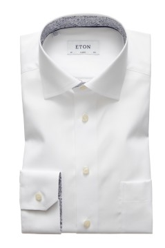 Overhemd Eton contrast boord wit Classic Fit
