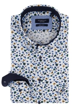 Giordano overhemd wit bloemenprint Regular Fit