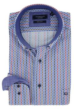 Giordano shirt blauw rood geprint Regular Fit