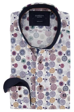 Giordano shirt wit met blauwe print Regular Fit