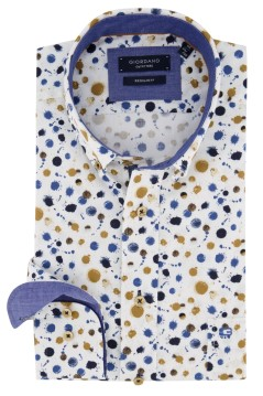Giordano overhemd wit Regular Fit geel geprint