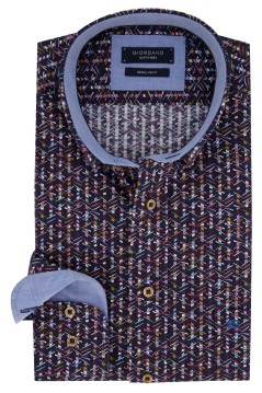 Giordano shirt donkerblauw geprint Regular Fit