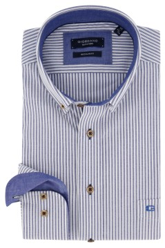 Giordano shirt Regular Fit blauw wit gestreept