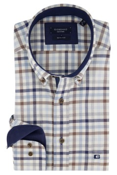 Giordano shirt ecru blauw geruit Regular Fit