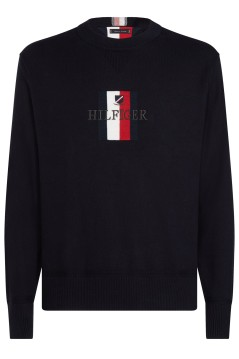 Tommy Hilfiger trui Big & Tall navy ronde hals