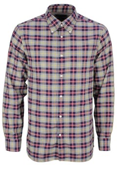 Tommy Hilfiger casual shirt met ruit grijs rood