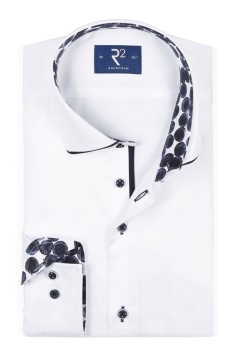 R2 shirt mouwlengte 7 wit met donkerblauw accent