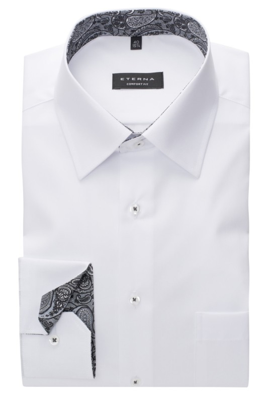 Eterna shirt wit Comfort Fit met borstzak
