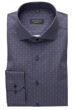 Eterna shirt navy print Comfort Fit