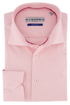 Shirt Ledub Tailored Fit roze wit structuur
