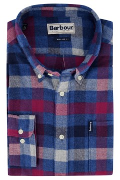Shirt geruit blauw rood Barbour Tailored Fit