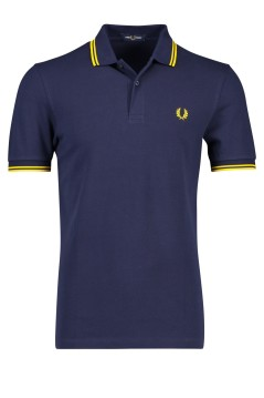 Fred Perry polo donkerblauw met geel accent