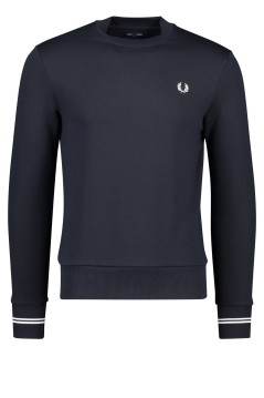 Fred Perry sweater ronde hals donkerblauw stretch