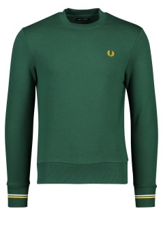 Fred Perry trui donkergroen stretch geel detail