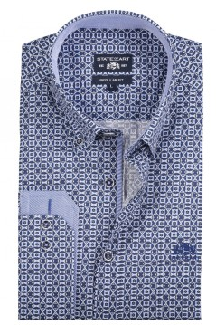State of Art shirt donkerblauw print