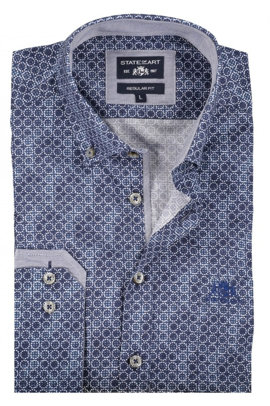State of Art shirt donkerblauw print regular fit