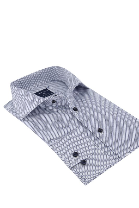 Profuomo overhemd wit dessin Slim Fit