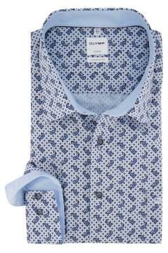 Comfort Fit Olymp overhemd blauw paisley
