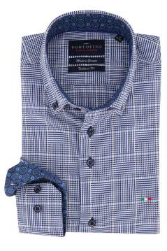 Portofino shirt blauw geruit Tailored Fit