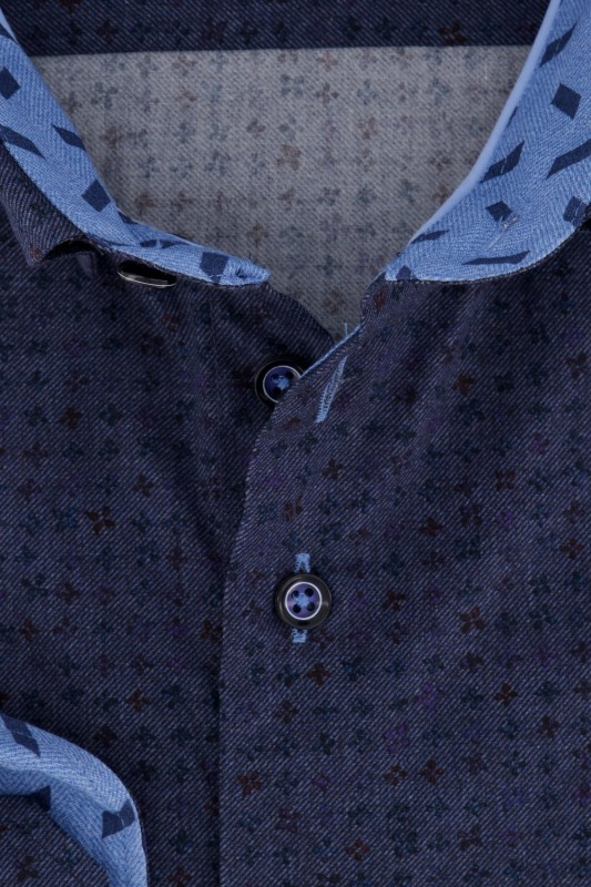 Portofino overhemd donkerblauw print Tailored Fit