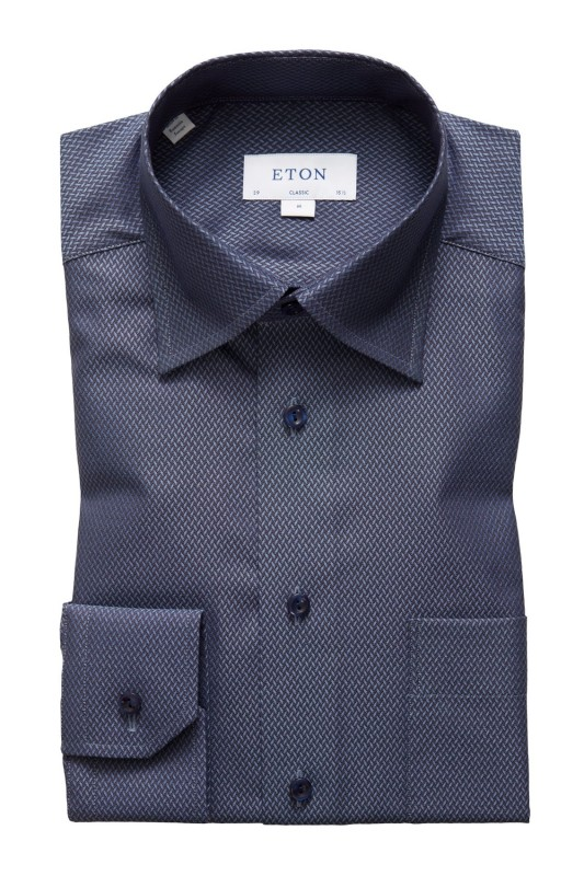Classic Fit overhemd Eton donkerblauw patroon