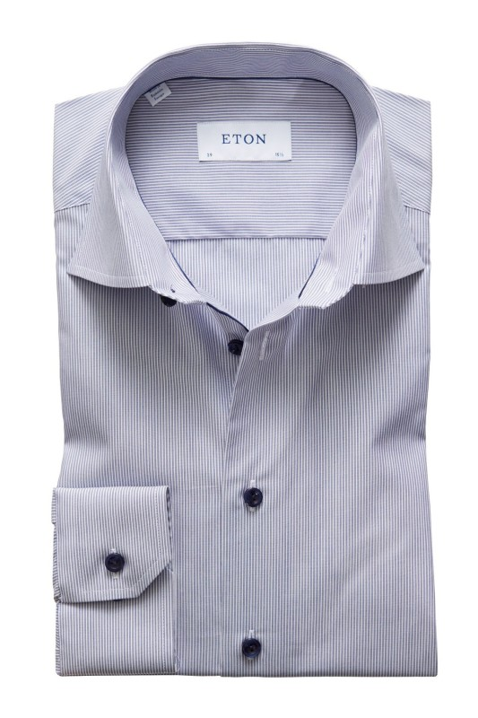 Eton overhemd Contemporary Fit blauw wit gestreept