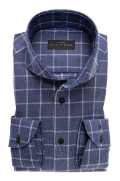 John Miller Tailored Fit donkerblauw geruit