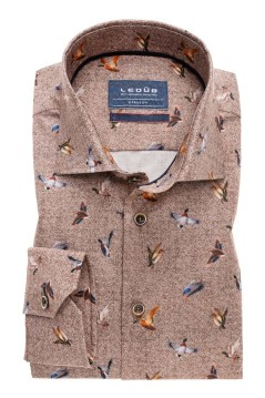 Overhemd Ledunb bruin print Tailored Fit