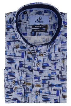 Culture overhemd ml 7 blauw geprint Modern Fit
