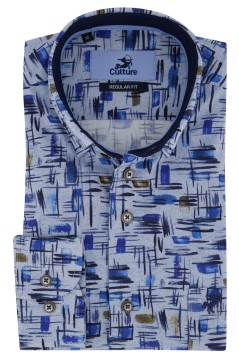 Overhemd Culture blauw motief Regular Fit