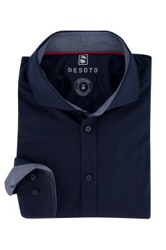 Overhemd Desoto donkerblauw knitted
