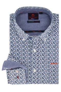 Overhemd New Zealand button down blauw motief