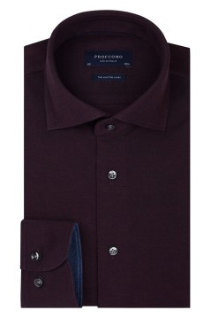 Overhemd Profuomo bordeaux knitted