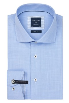 Mouwlengte 7 overhemd Profuomo blauw Slim Fit