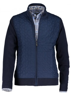 State of Art vest donkerblauw ruitpatroon
