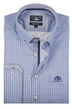 State of Art lichtblauw print shirt button down