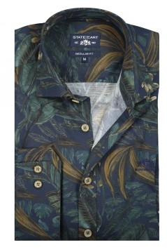 State of Art navy groen shirt bladprint