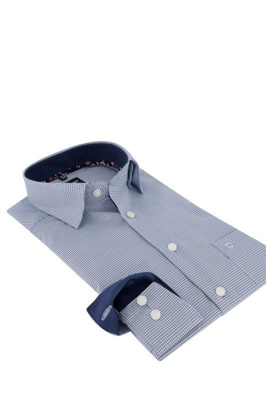 Olymp Luxor Modern Fit shirt ml 7 blauw geprint