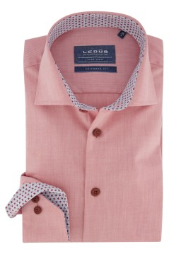 Overhemd Ledub Tailored Fit meloen rood