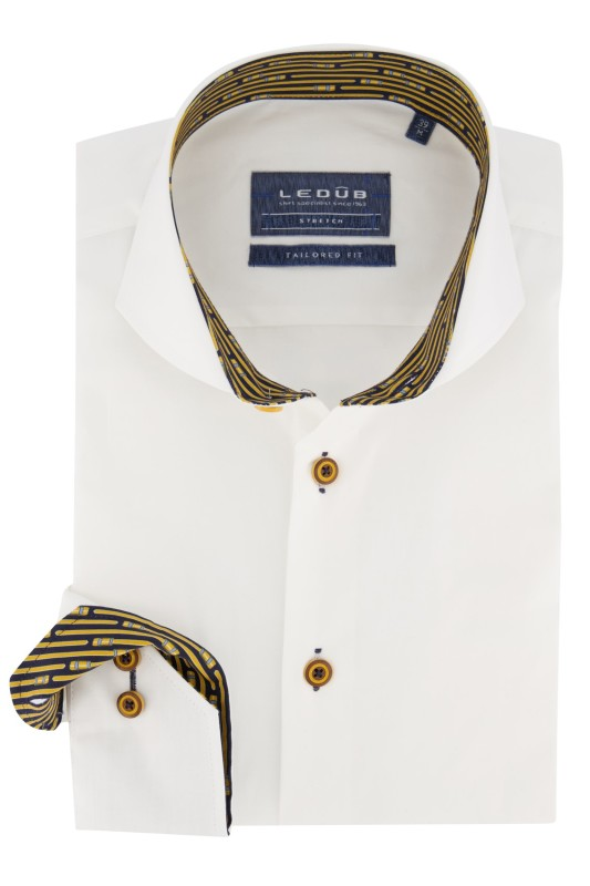Ledub shirt wit geel accent Tailored Fit