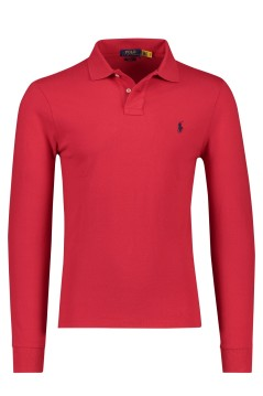 Polo lange mouw rood Ralph Lauren Slim Fit