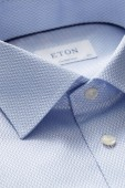 Eton shirt sky blue structuur Contemporary Fit