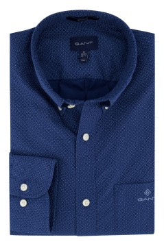 Overhemd Gant donkerblauw stippen Regular Fit