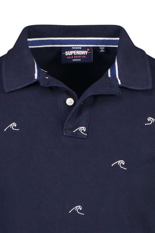 Superdry classic polo navy golven