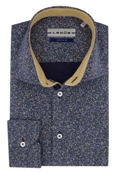 Overhemd Ledub Tailored Fit donkerblauw dessin