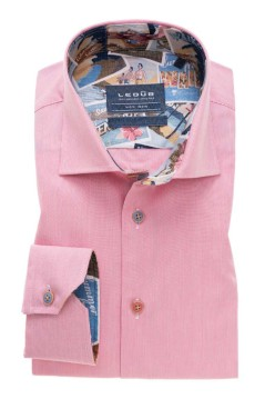 Ledub overhemd Tailored Fit roze stijkvrij