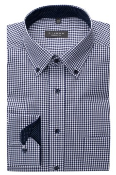 Eterna shirt ml 7 Comfort Fit navy wit geruit