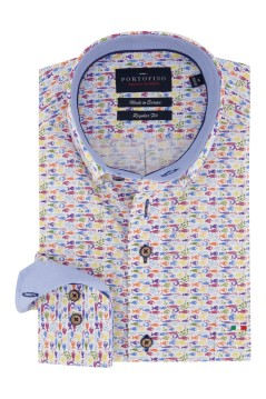 Regular Fit overhemd Portofino multicolor vissen